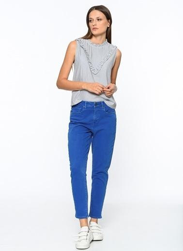 Çizgili Bluz-Mavi